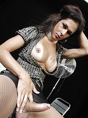 Stunning brunette tranny deeply penetrating her man with her hard cock