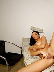 Big boobed Latina TS Marcella Italy squeezes big shemale tits together