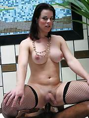 Luscious Latina shemale Rochielle fucking with big boobs in stockings