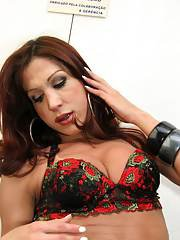 Stunning mature Latina tranny Francine enjoying a fat boner up her ass