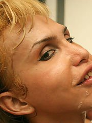Mature blonde Latina shemale Paty getting a facial and a hard dicking