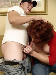 Mature redhead tranny Nikki fucking passionately and giving a blowjob