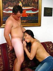 Cumshot loving Latina shemale Kenya getting an ass beating on a couch