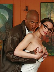 Sexy tranny secretary Brooke gives a black man a bj and takes oral cumshot