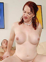 Older redhead tranny Jena Roberts seduces mans dick by getting him drunk