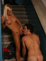 Blonde shemale Thays Schiavinato giving and receiving bareback anal sex