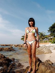 Beautiful Thai shemale Noon posing on a beach before sucking a hard dick