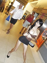 Ladyboy Fon Flashing in the Mall