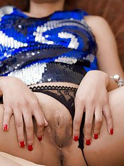 Ladyboy Rose Shiny Blue Dress