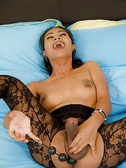 Horny big tit Asian tranny Jasmine filling her ass up with anal beads