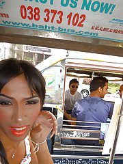 Ladyboy Happy Baht bus cock flash