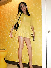 Ladyboy  Yellow Dress Bareback Top