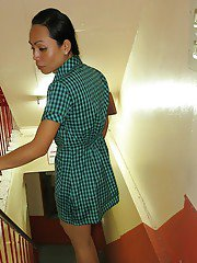 Skinny Thai ladyboy Dow gets barebacked while jerking off shaved dick