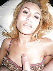 Blonde Thai tranny Candy getting fucked without a condom and spreading