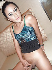 Horny Asian tranny New showing off her tight body and panties in public