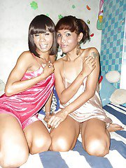 Horny Thai trannies Nong and JeeJee playing with each other and jerking off