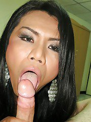 Nasty Asian shemale Fon sucking on a dick and fucking it before a facial