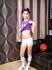 Small tit Thai ladyboy teen Nin showing off her shaved ass and masturbating
