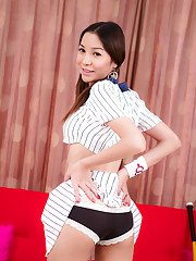 Amateur Asian ladyboy Pim playing with her big tits and pussy in socks