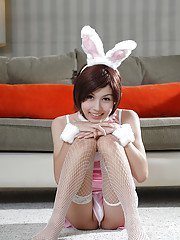 Cute skinny Thai shemale Shuy jerking off in stockings and lingerie