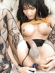 Beautiful busty Asian ladyboy Jame showing off her large melons