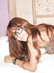 Nerdy Asian Ladyboy Mey takes deep bareback banging of ass with glasses on
