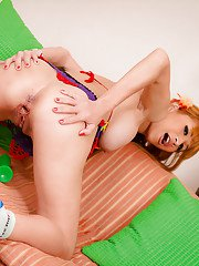 Asian blonde ladyboy Emi gets naked and masturbates with her dildo