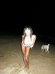 Asian shemale goddess delivers a horny final blow in her beach house