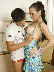 Luscious brunette tranny Kalena Rios getting her ass stretched wide