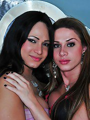 Latina trannies Pati Colt and Nicolly Spiller share a horny guy