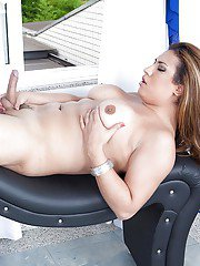 Busty Latina tgirl Patricia Bismark squeezed out every drop of jizz
