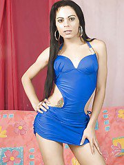 Beautiful Latina tranny Sharon flashing tattoos and piercings