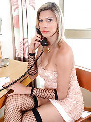 Older blonde Ladyboy Leticia Andrade slips hairy dick into mans butthole