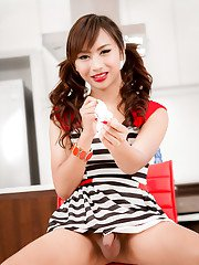 Retro teen ladyboy Pancake blows bubbles and jerks off in the kitchen