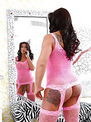 Latina ts Nicolly Navaro wears lingerie as she shows off her big dick