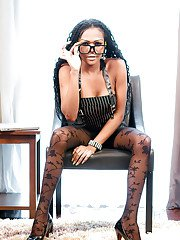 Gorgeous tranny Sunny in high heels and brown stockings jerking off