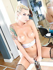 Blonde shemale Aubrey Kate tops and bottoms with Robert Axel