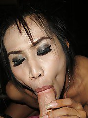 Skinny Asian ladyboy is doing a doggy style and gives a great blowjob