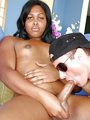 Ebony transsexual Nicole Foxxx fondling small tits and jacking off