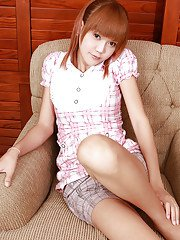 18 year old redhead ladyboy Yoko 2 removing pretty lingerie and jerking off