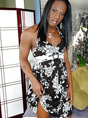 Leggy ebony shemale Nicole B oils up her hung black tranny cock