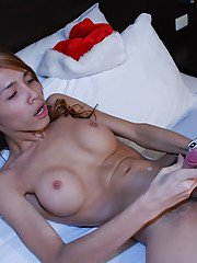 Pretty Asian ladyboy First toying filthy asshole while masturbating