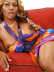 Solo ebony tranny Chasidy undressing for masturbation on big cock