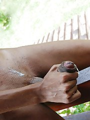 Leggy ebony shemale Kawanna di Prado masturbating hung shecock outdoors