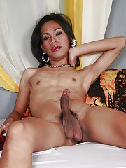 Skinny Asian ladyboy Itoy masturbating hairy cock for cumshot