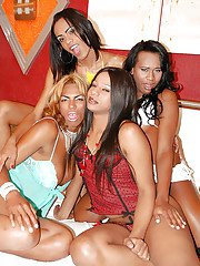 Brazilian shemale on shemale orgy with Lenne Santos and Luana Weickeirt