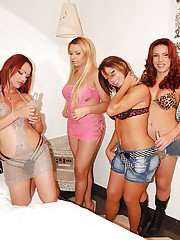 Shemale on shemale orgy action with Angelica Campos Esmeralda and Meg
