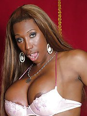 Fat ebony tranny Jackeline Brazil showing off large tits and big booty