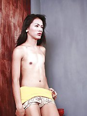 Petite Asian ladyboy Ar exposing flat chest while modeling solo