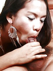 Asian ladyboy on male butt fucking and bj action provided by Nika